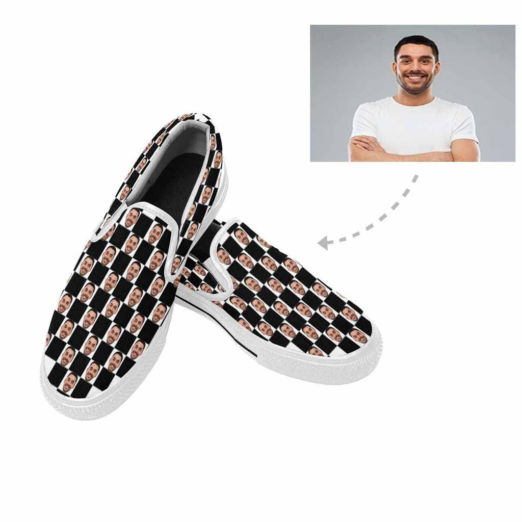Custom Face lattice Slip-on Canvas Women's Shoes