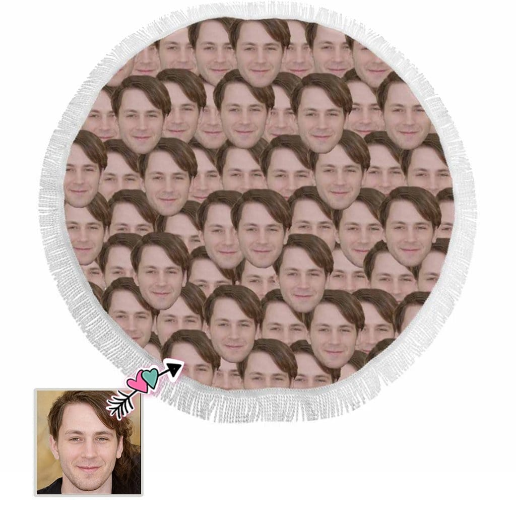 Custom Face Pattern Round Beach Mat