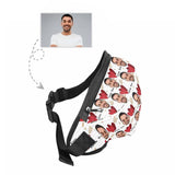 Custom Face Love Heart White Waist Bag