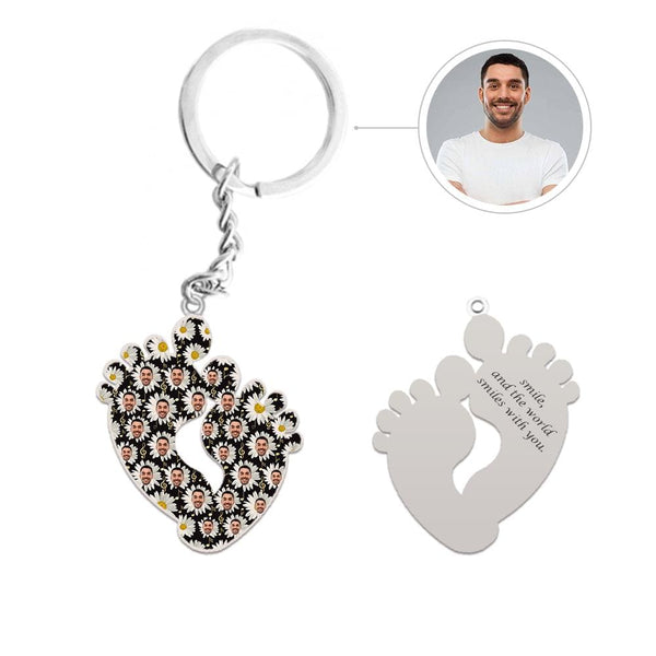 Custom Face Little Daisy Feet Shape Silver Keychain