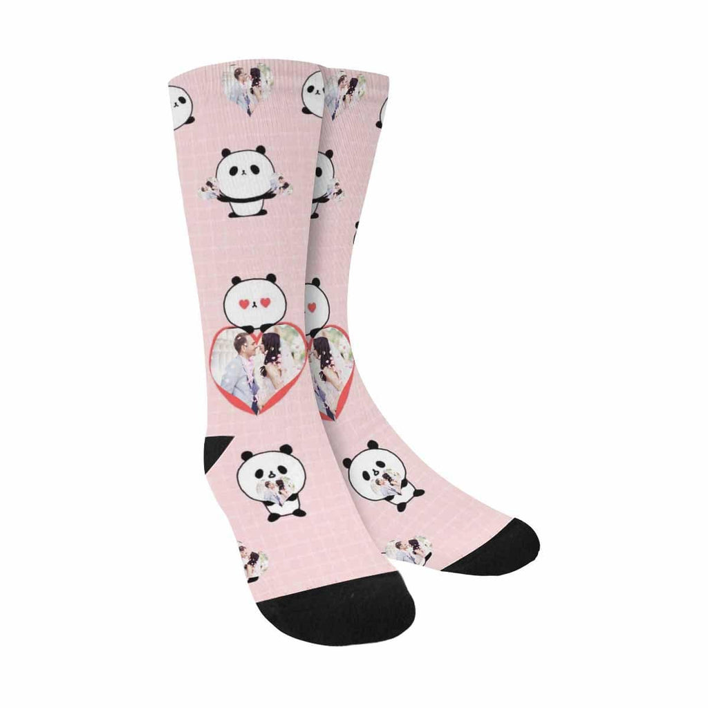 Custom Couple Face Panda Sublimated Crew Socks