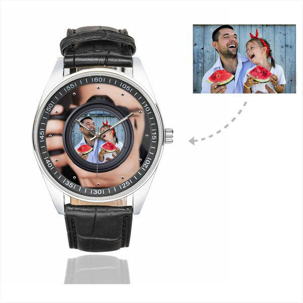 Men's Custom Photo In Camera Father's Day Casual Leather Strap Watch