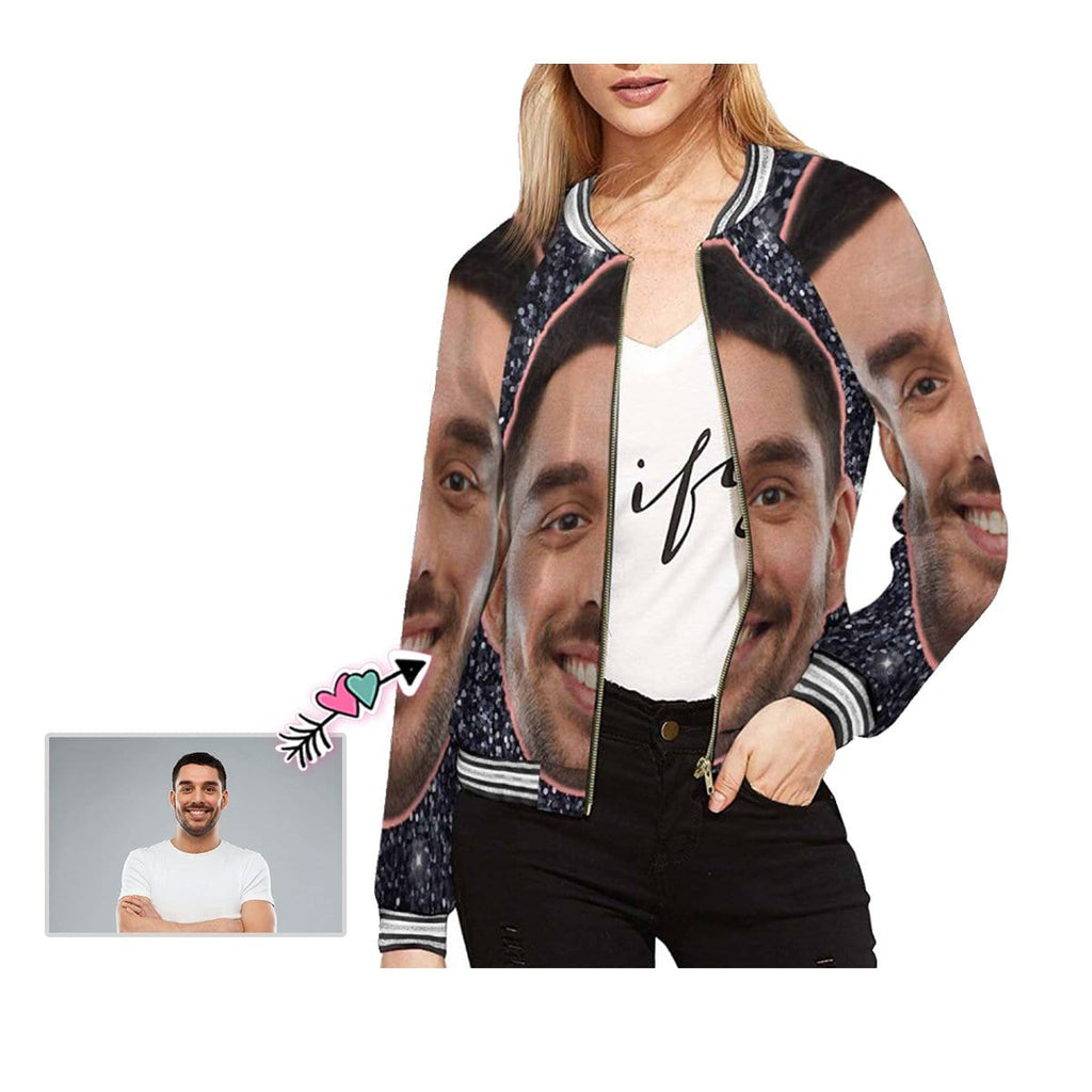 Custom Boyfriend Face Shiny Black Women's Casual Jacket