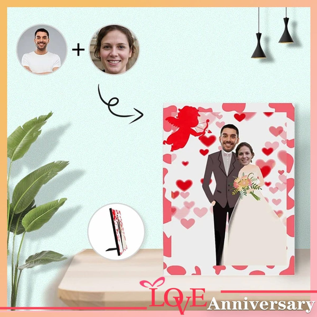 Custom Face Marriage Photo Panel for Tabletop Display