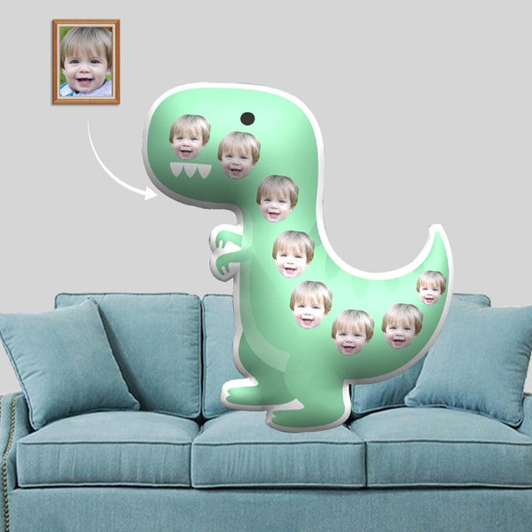 Custom Face Green Dinosaur Shaped Pillow