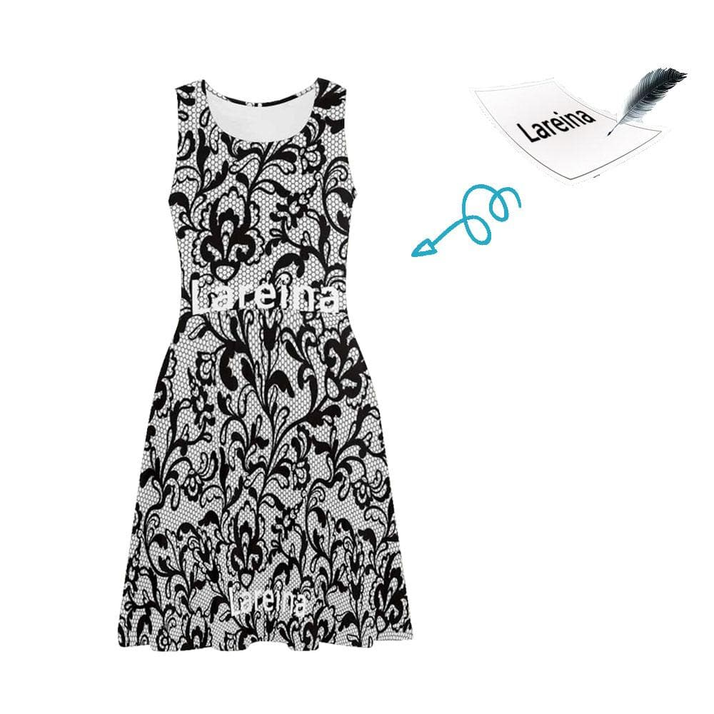 Custom Name Black Pattern Casual Sundress