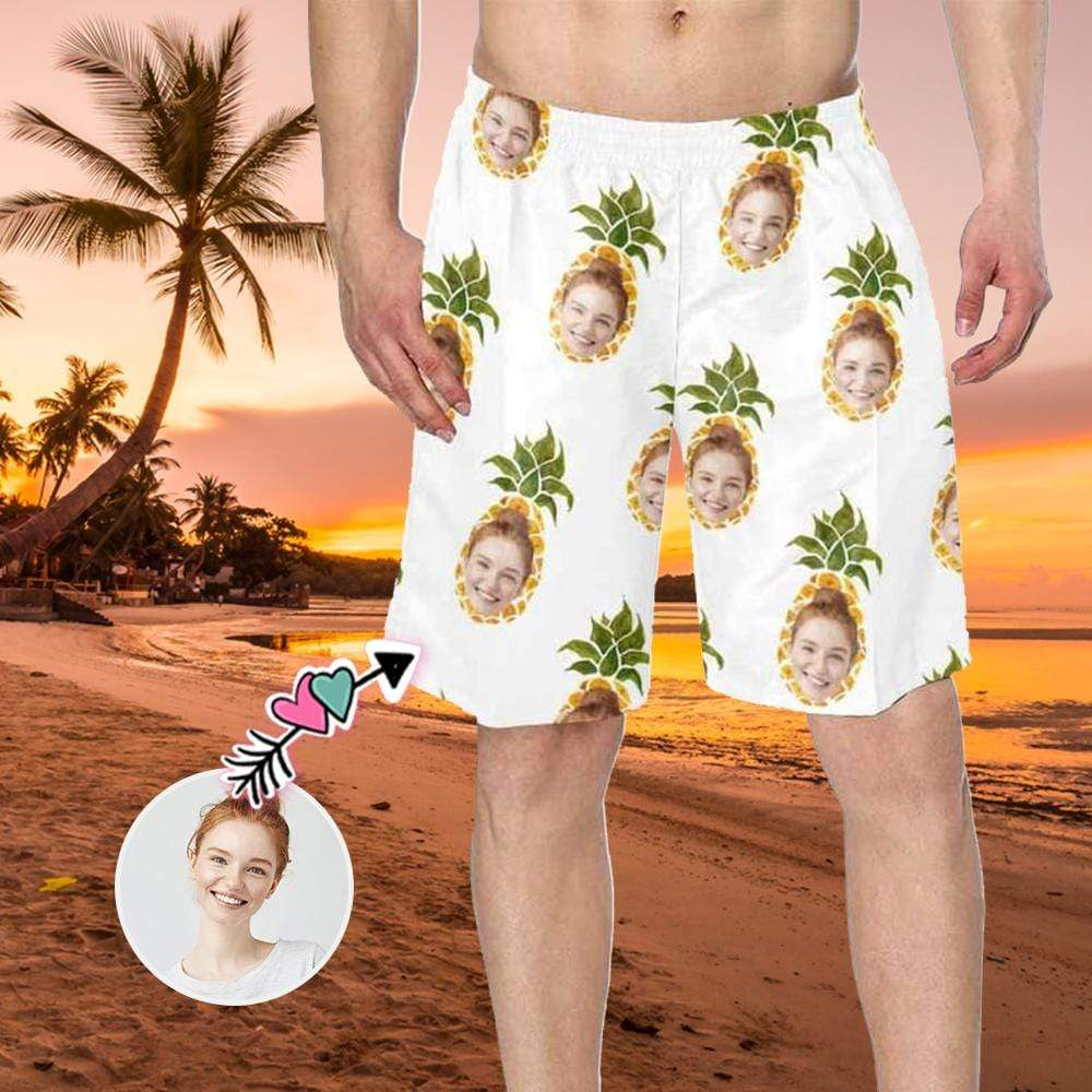 Custom Face Pineapple Men's Swim Trunk