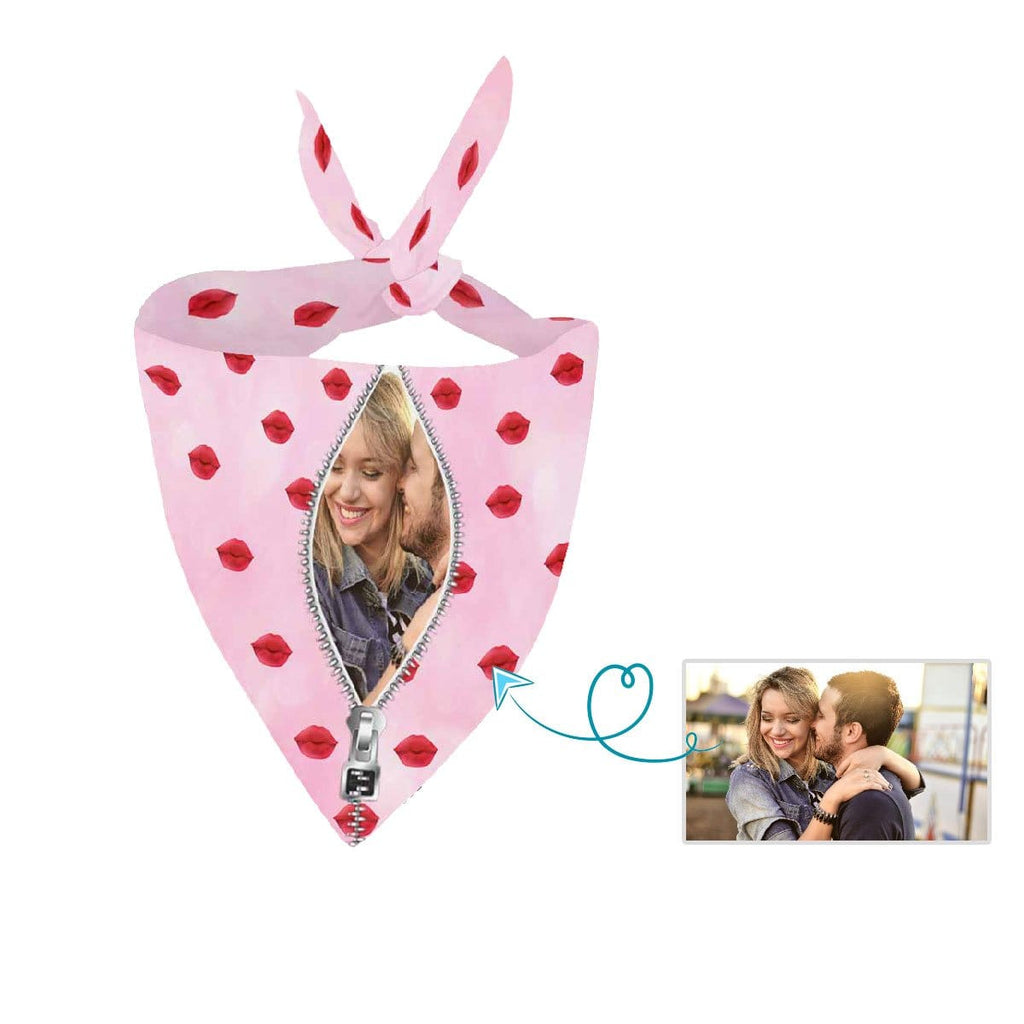 Custom Face Zipper Photo Pink Pet Bandana