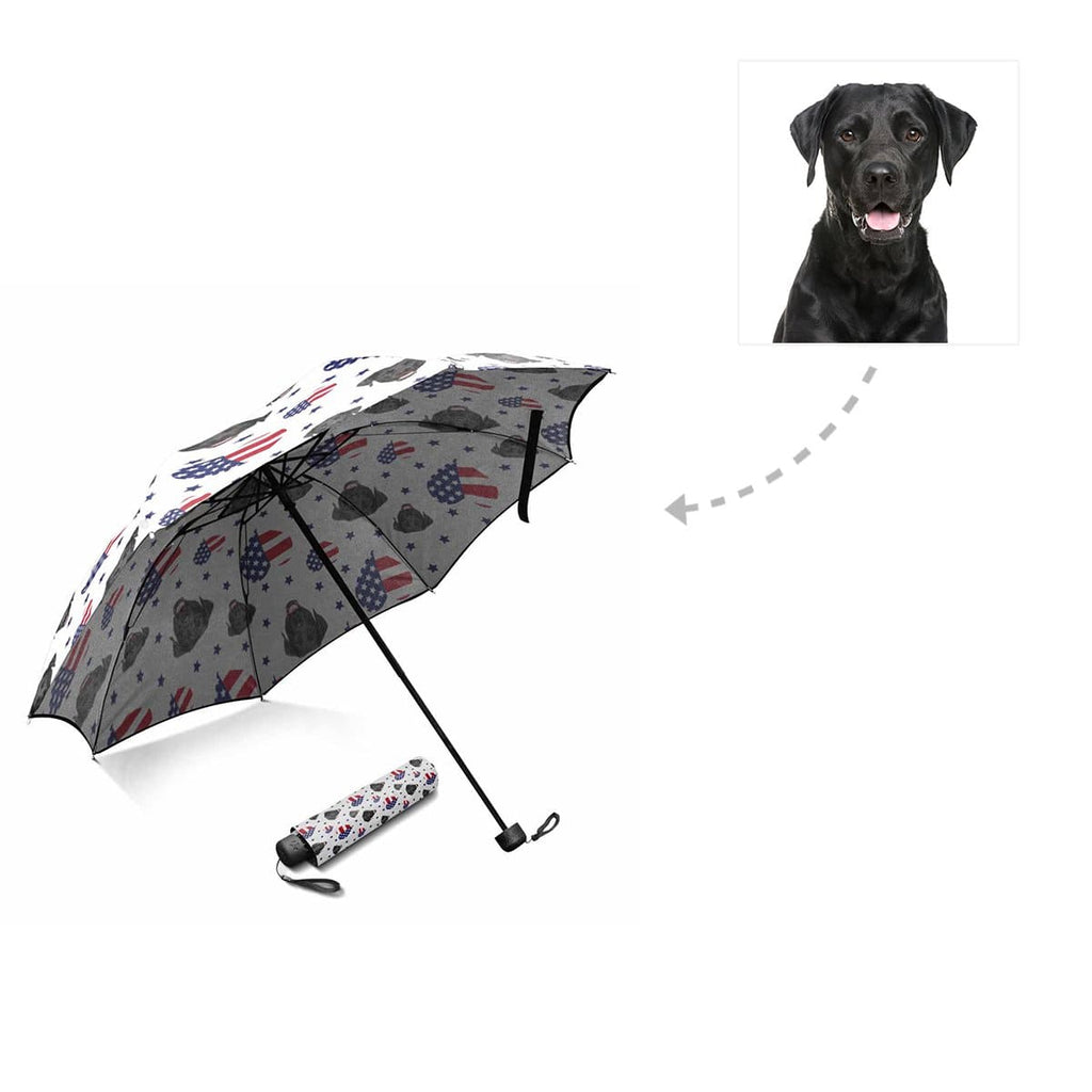 Custom Dog Face American Flag Heart Foldable Umbrella
