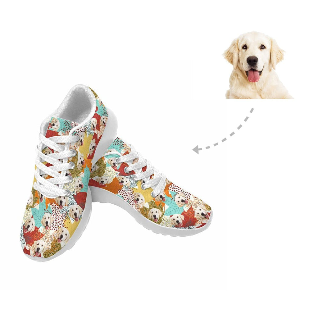 Custom Dog Face Thanksgiving Maple Leaf Sneaker