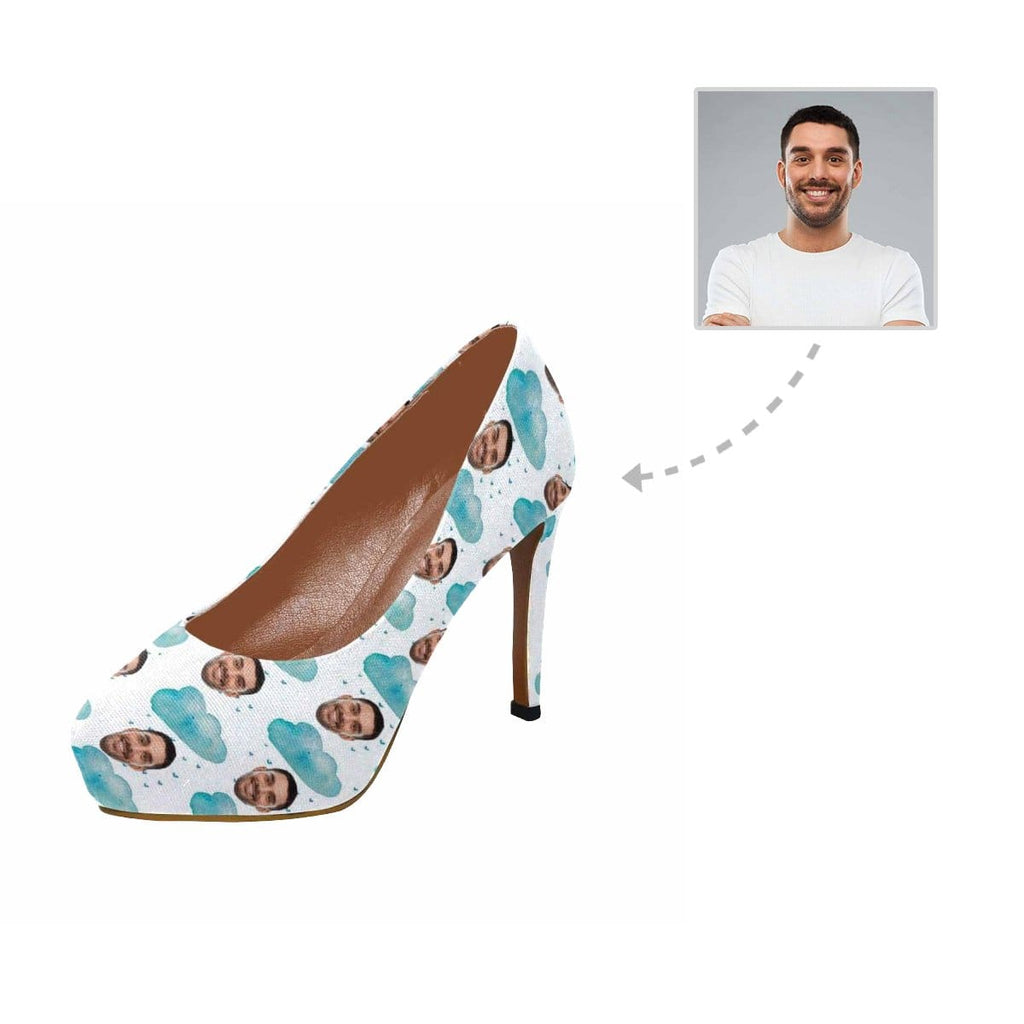 Custom Boyfriend Face Blue Cloud Women's High Heels