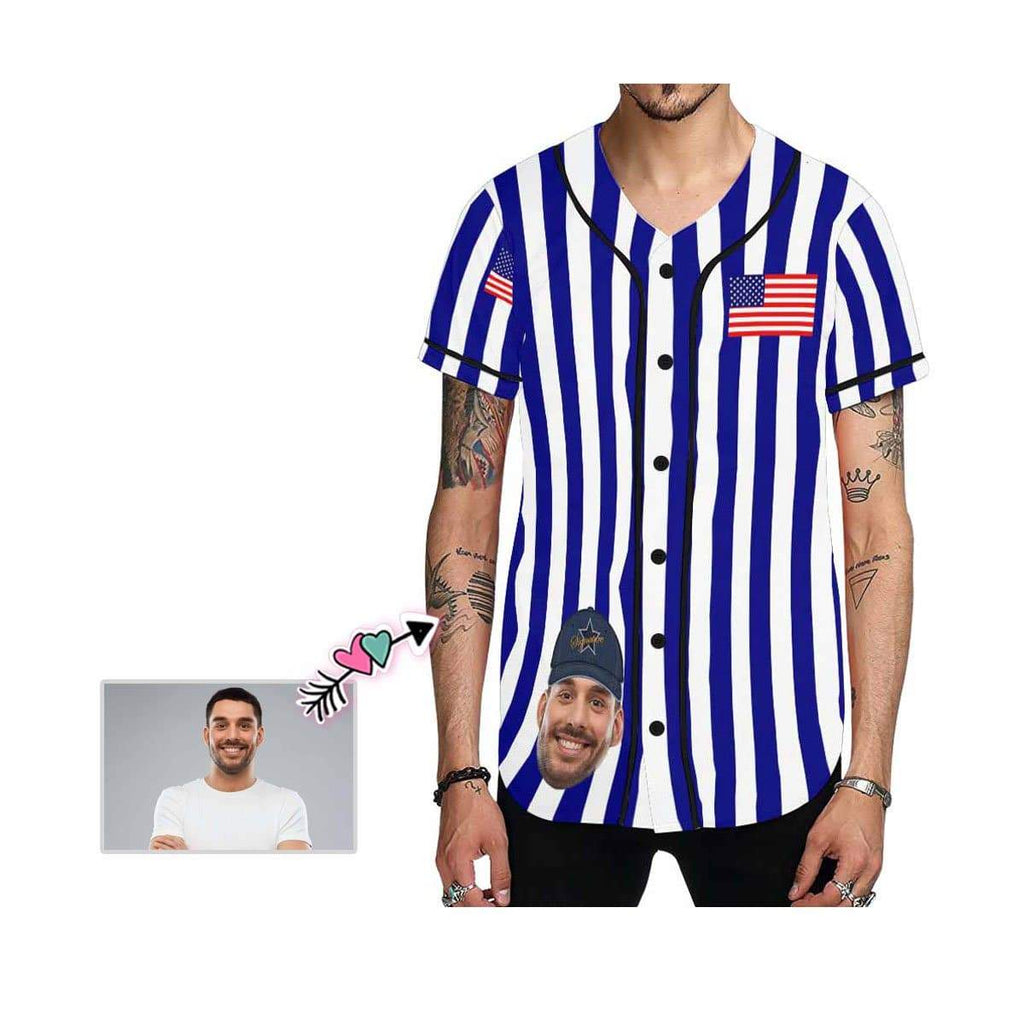 Custom Face Stripe Flag Men's All Over Print Baseball Jersey