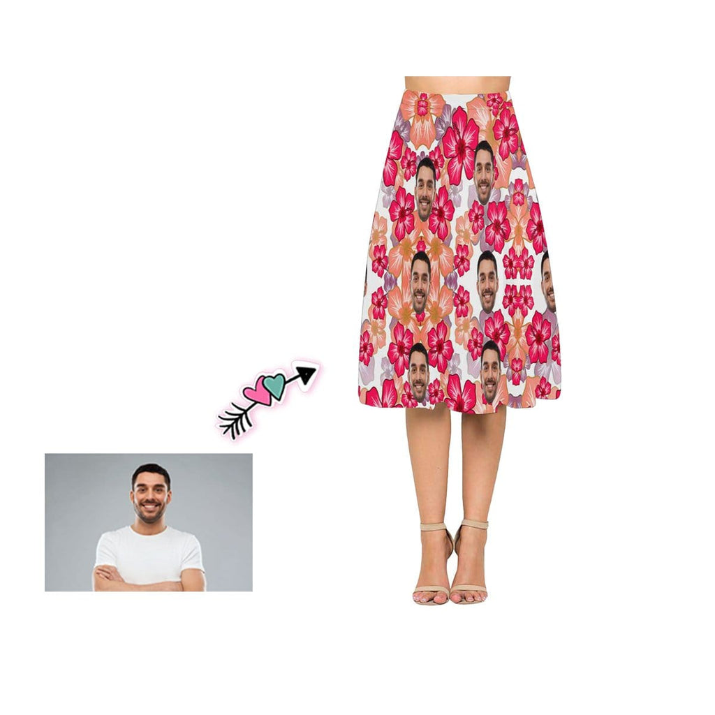 Custom Face Red Flower Women's Crepe Skirt
