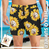 Custom Face Sunflower Men's Mid-Length Swim Shorts