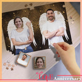Custom Face Two Angels Wooden Photo Puzzle