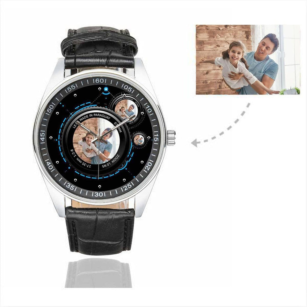 Men's Custom Photo In Lens Father's Day Casual Leather Strap Watch