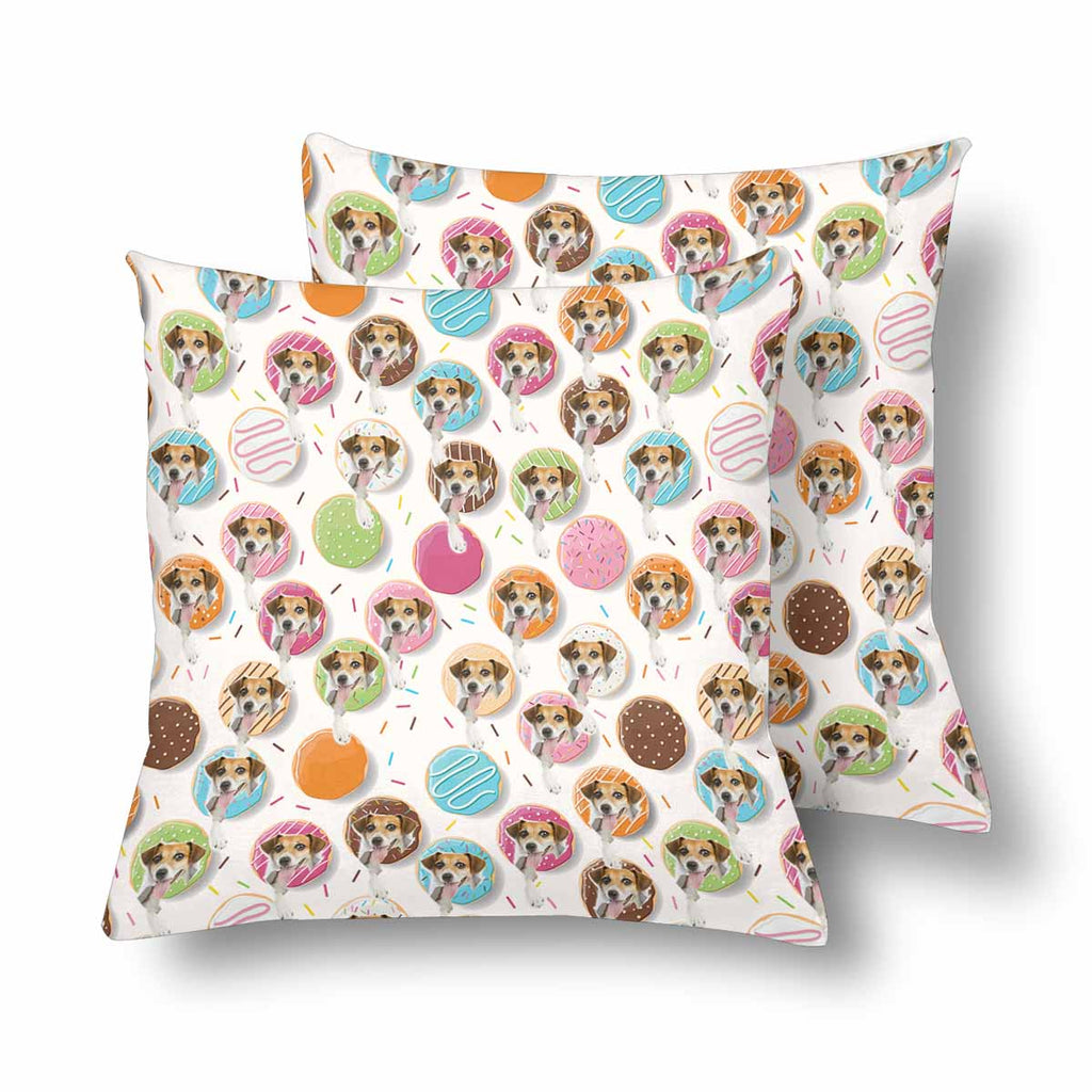 Custom Donuts Dog Face Throw Pillow Cover