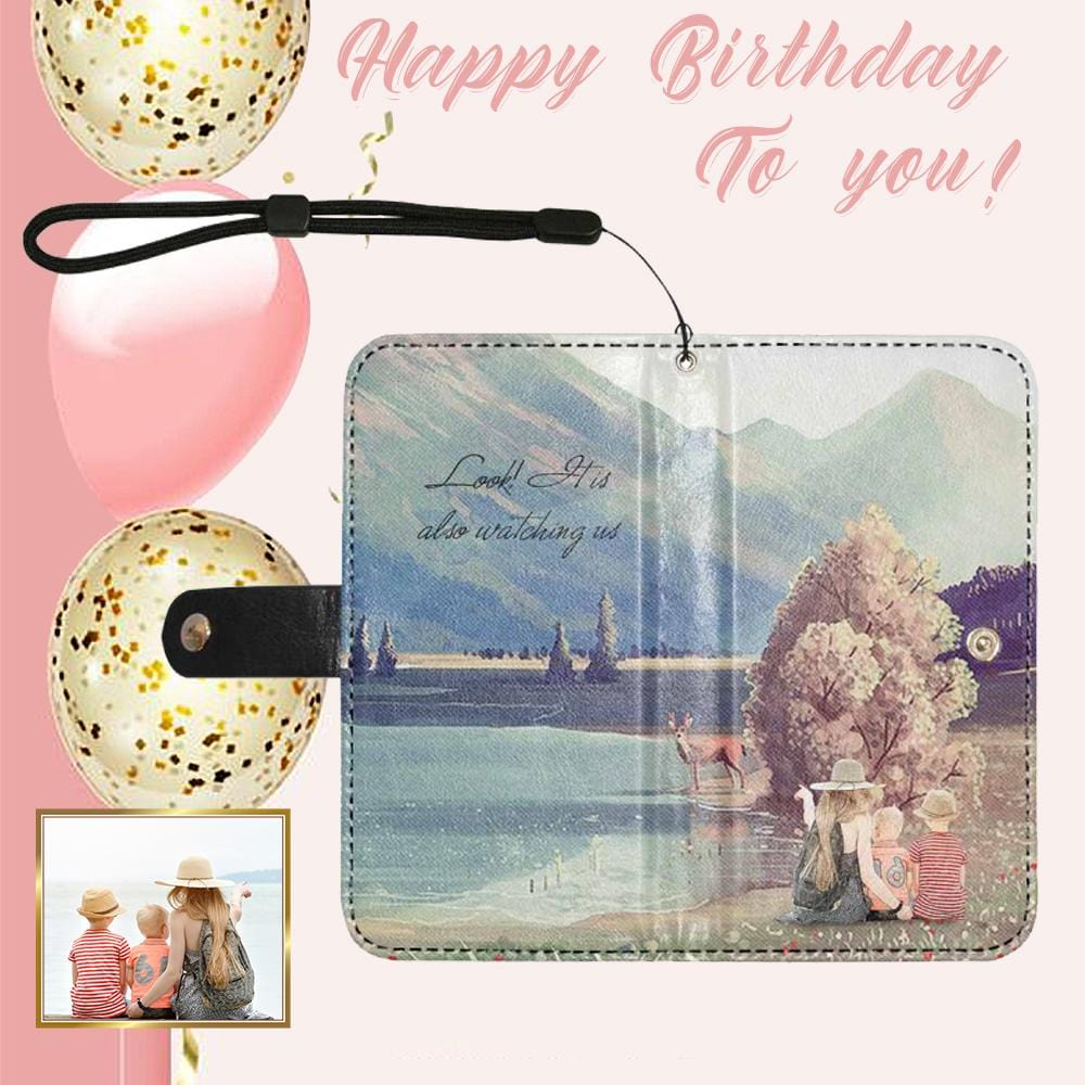 Custom Photo Also Watching Us Flip Leather Purse for Mobile Phone