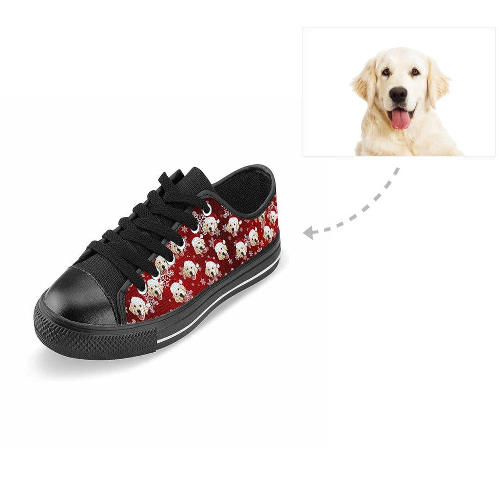 Custom Dog Christmas Snowflake Aquila Low Top Canvas Shoes