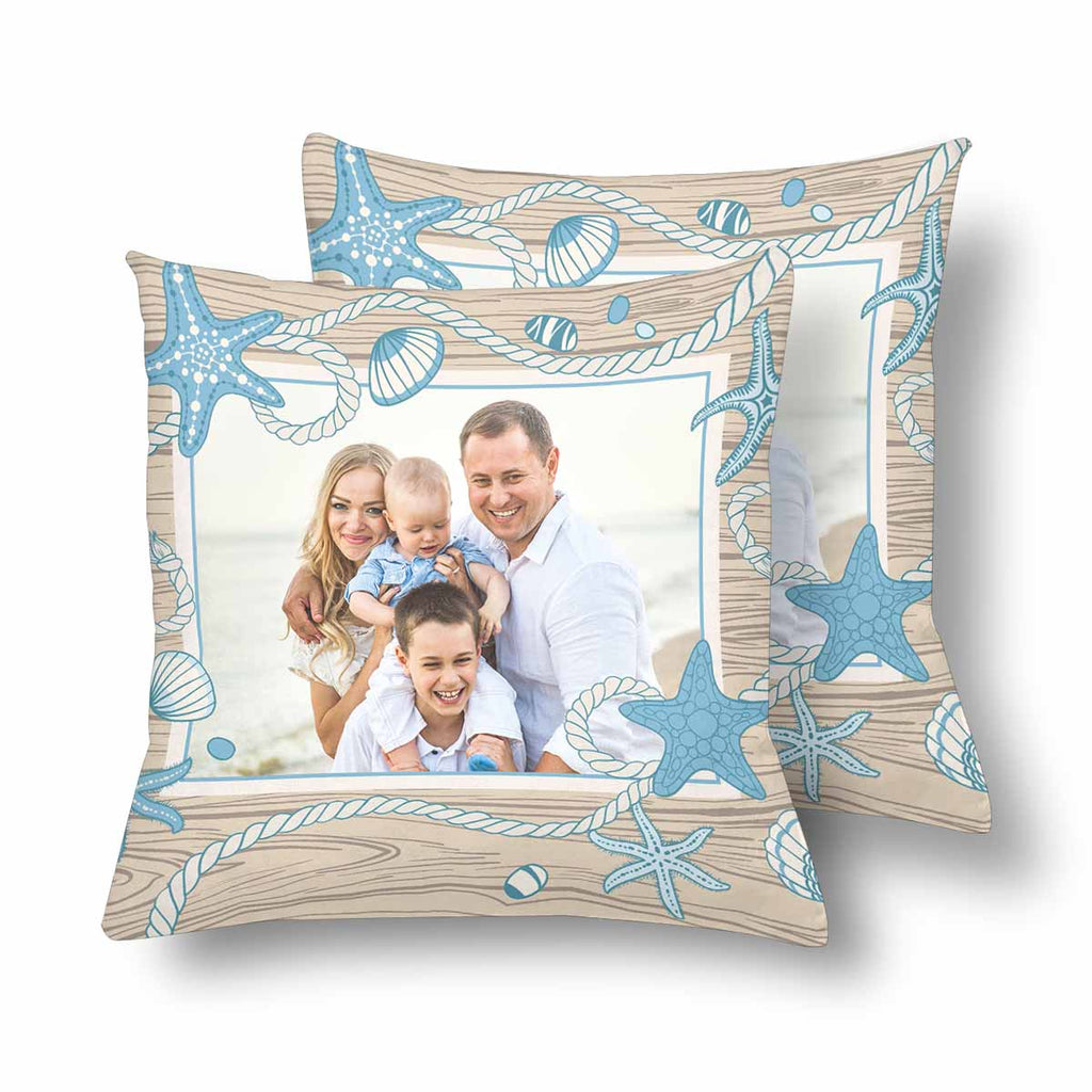 Custom Family Photo Starfish Throw Pillow Cover