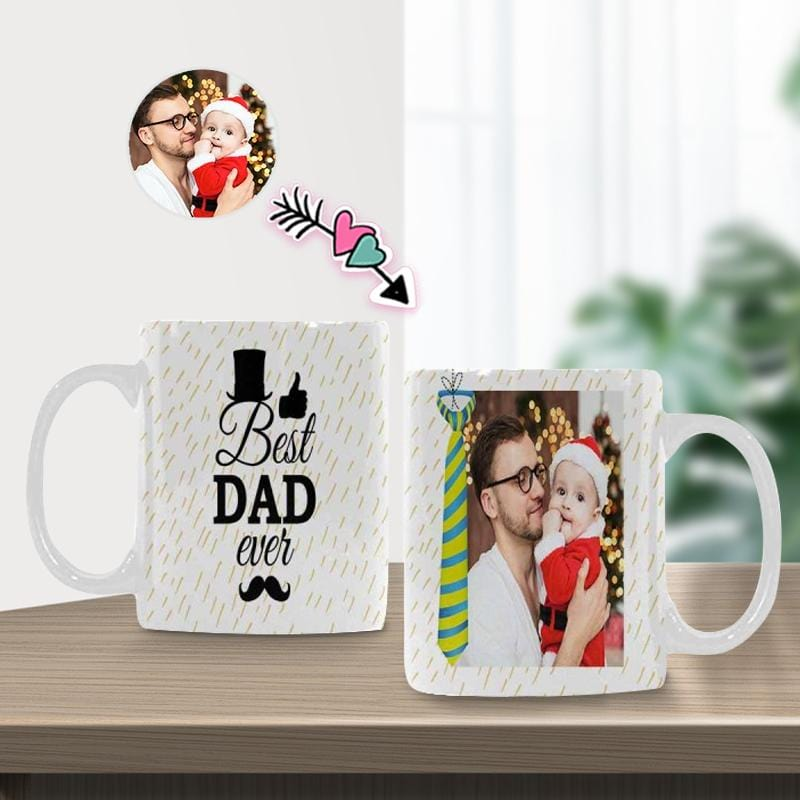 New Home Gift, Housewarming Gift for Family, Custom Photo Best Dad Classical White Mug, Personalized New Mug
