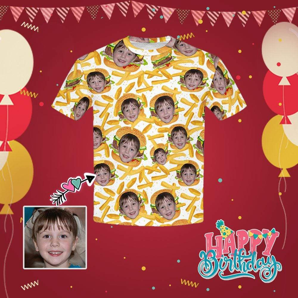 Custom Face French Fries Kid's All Over Print T-shirt