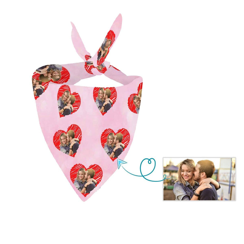 Custom Face Love Heart Pink Couple Pet Bandana
