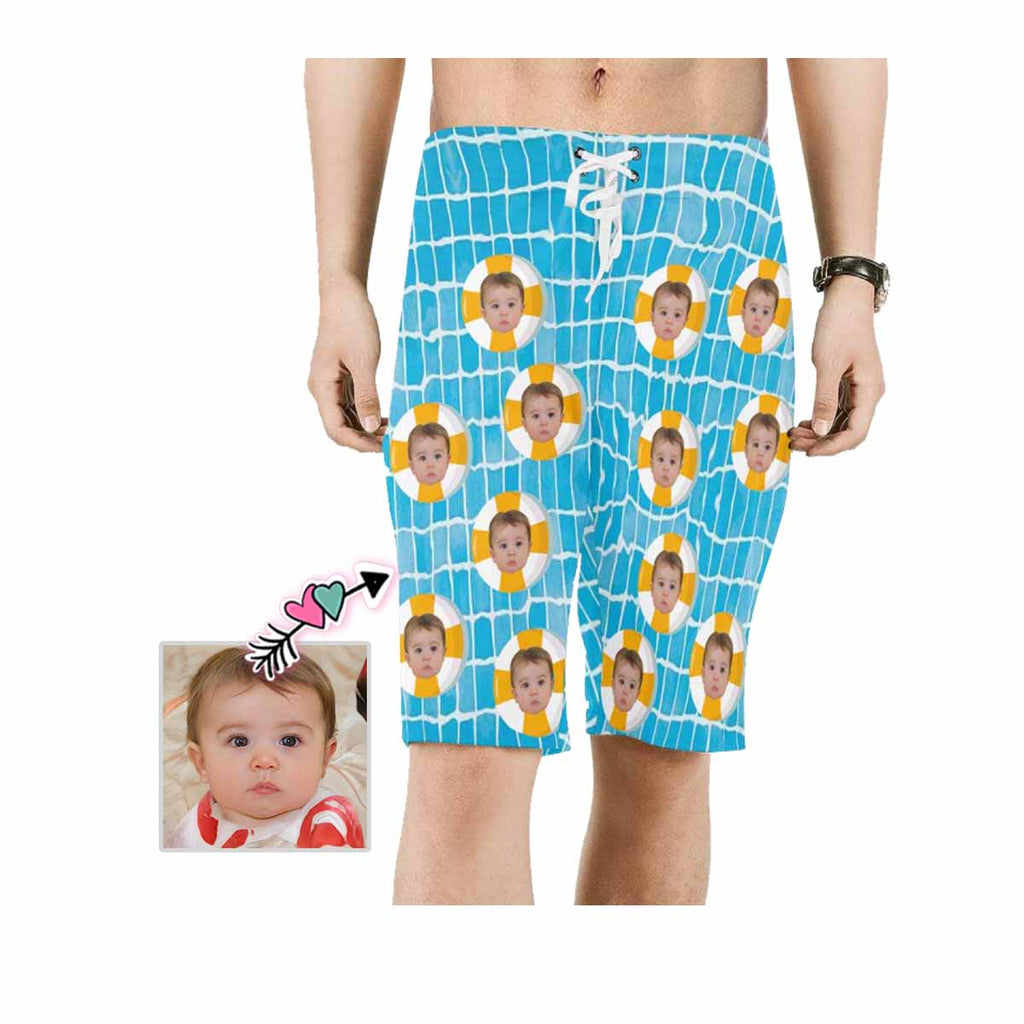 Custom Face Swimming Ring Men's Beach Shorts