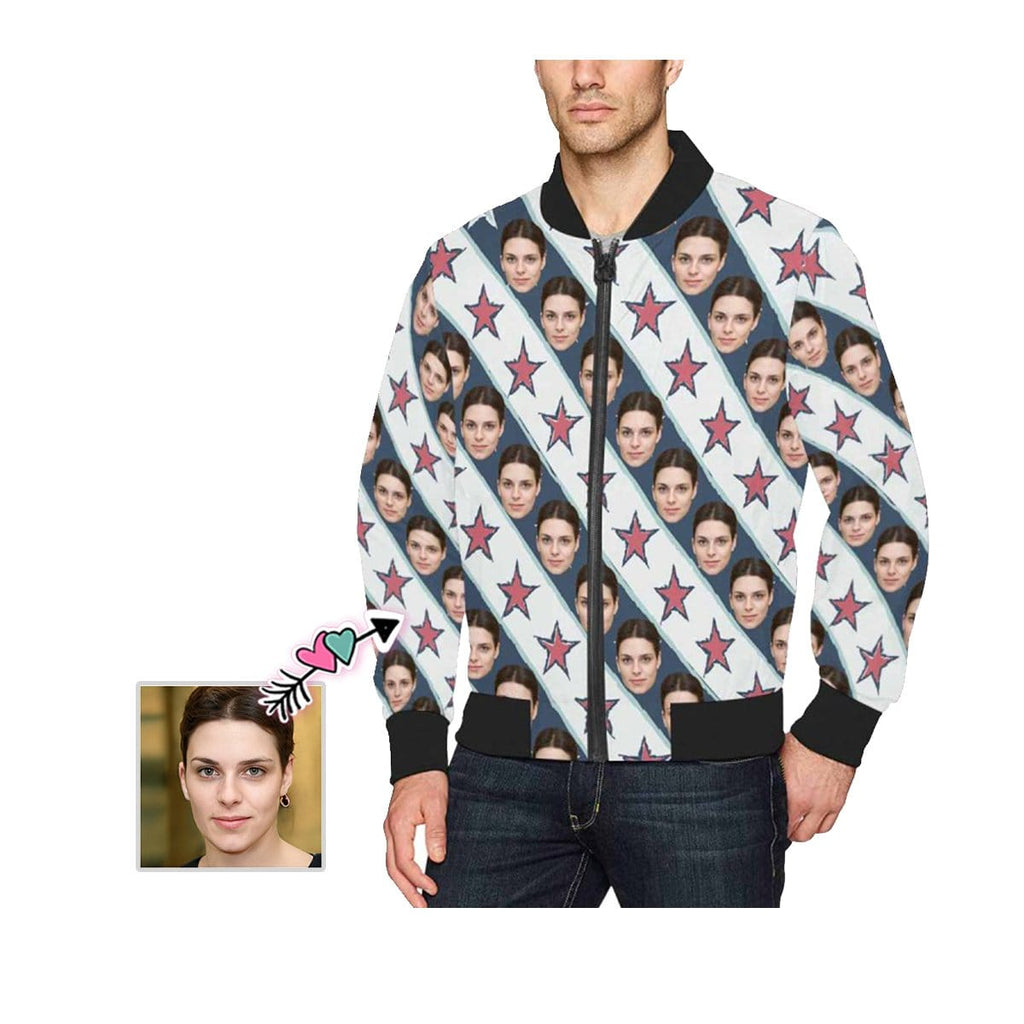 Custom Face Star Stripe Men's Bomber Jacket