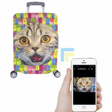 Custom Colorful Cat Face Luggage Cover
