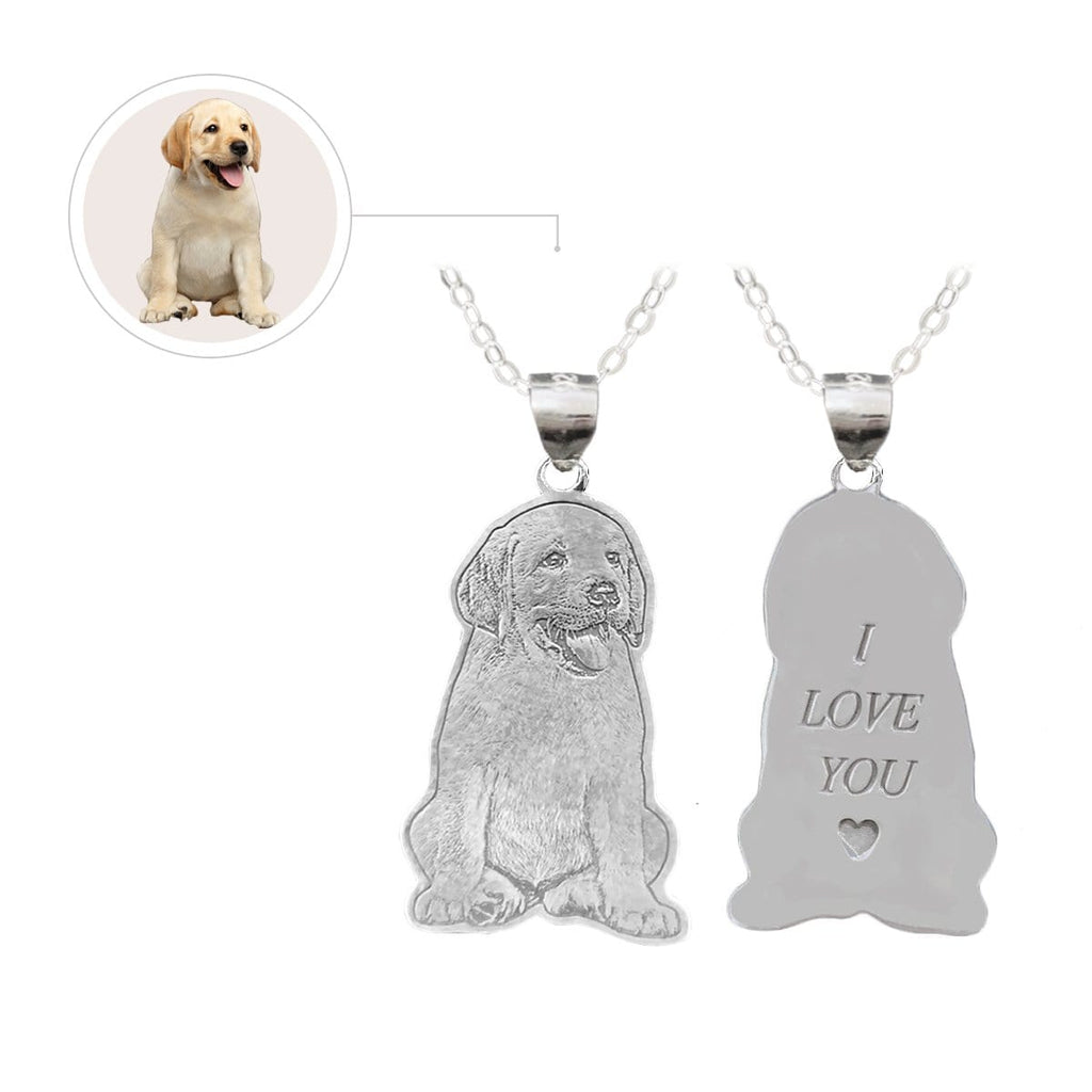 Photo Dog Engraved Tag Necklace, Photo Necklace, Dog, For Pet, Sterling Silver or Titanium Steel.