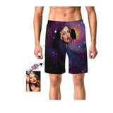 Custom Wife Face Space Galaxy Men's Elastic Beach Shorts