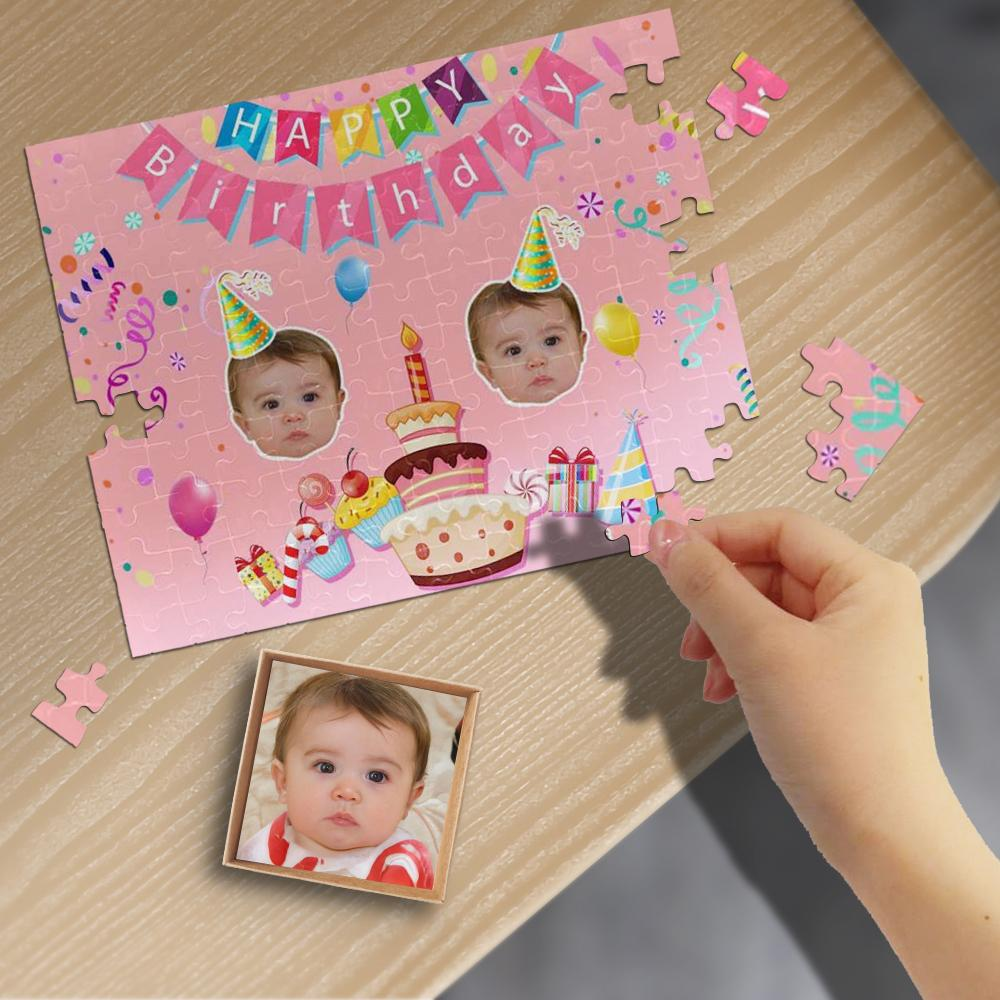 Custom Face Happy Birthday Rectangle Jigsaw Puzzle Best Indoor Gifts 110/500/1000 Pieces