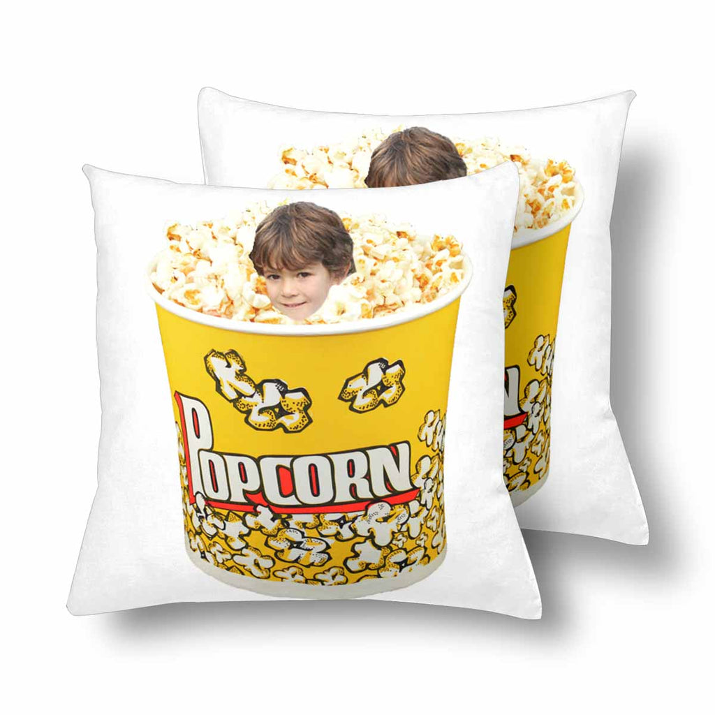 Custom Face Photo Popcorn Throw Pillow Cover 18'' x 18''