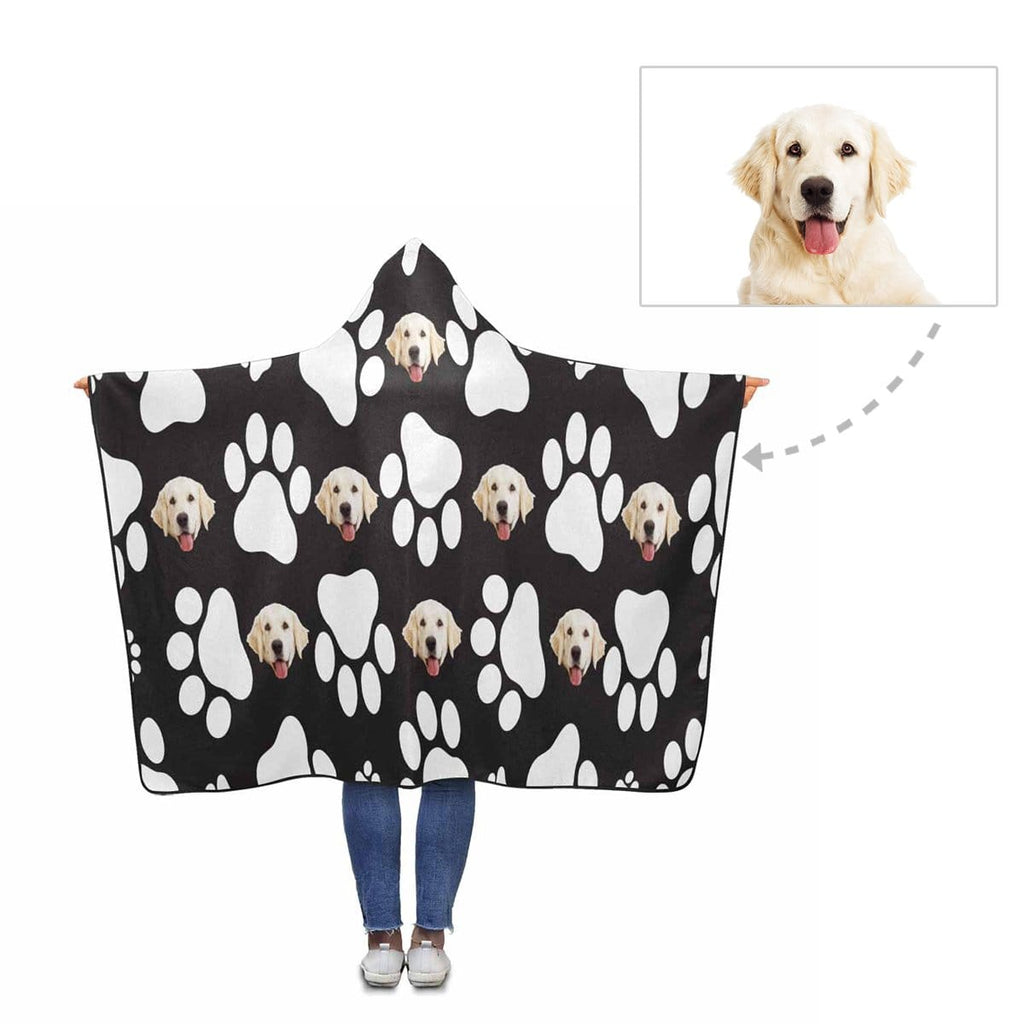 Custom Face White Dog Paw Hooded Blanket