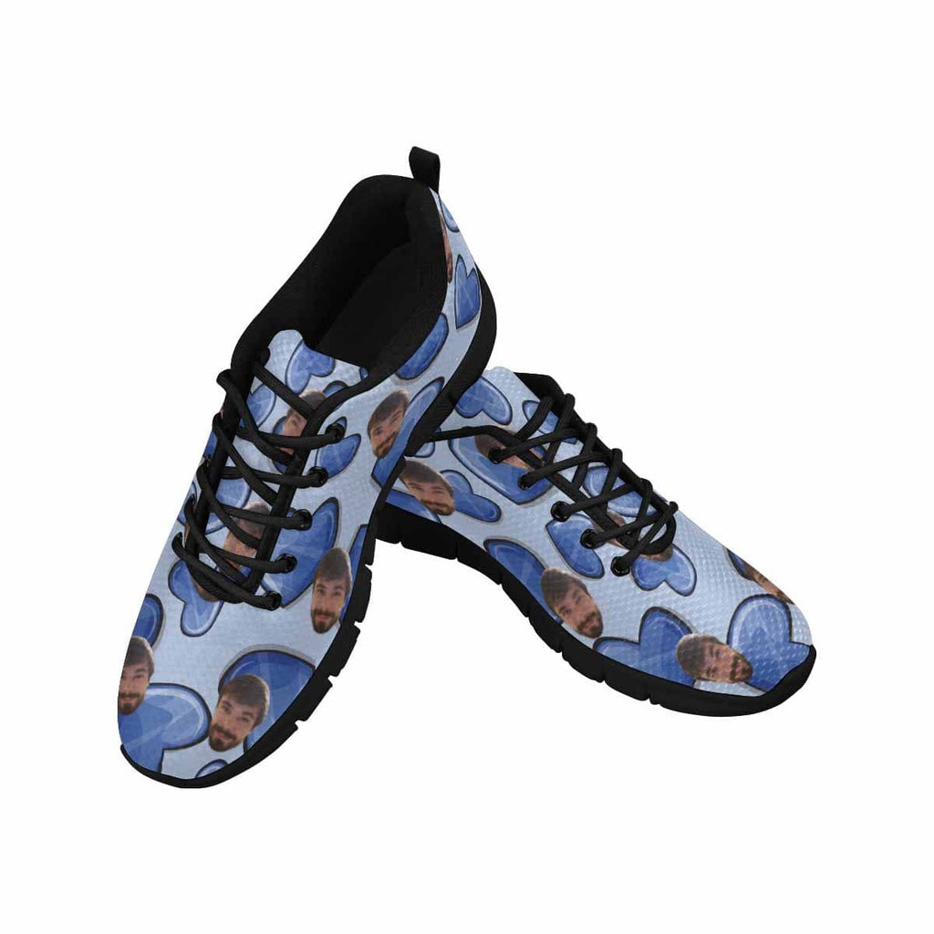 Custom Face Blue Heart Women's Running Shoes
