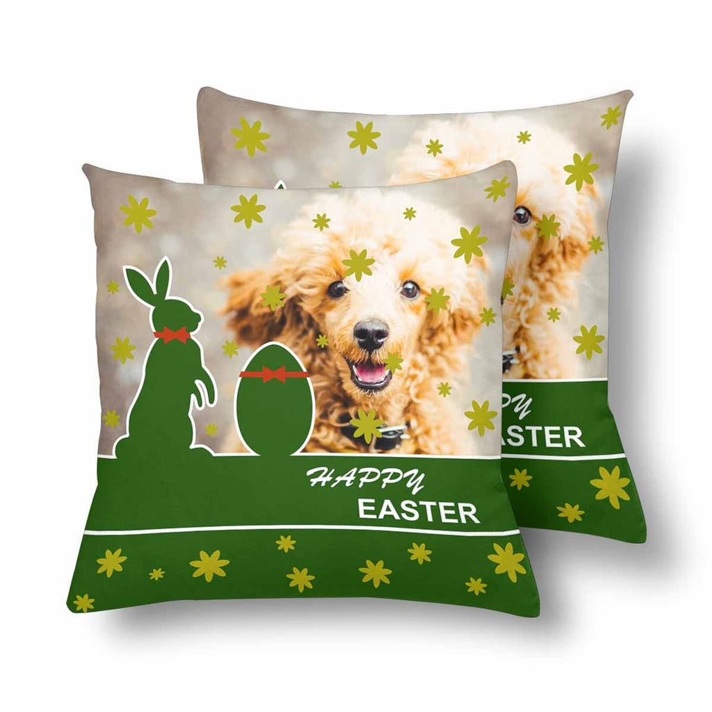 Custom Dog Photo Easter Day Throw Pillow Cover