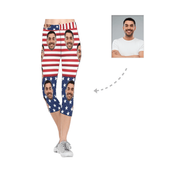 Custom Boyfriend Face National Flag All-Over Low Rise Capri