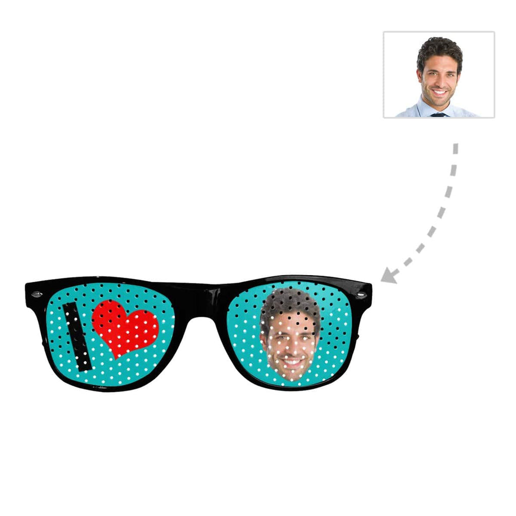 Custom Face Love Heart Unisex Perforated Lenses Sunglasses