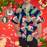 Custom Face Christmas Pineapple Men's All Over Print Hawaiian Shirt