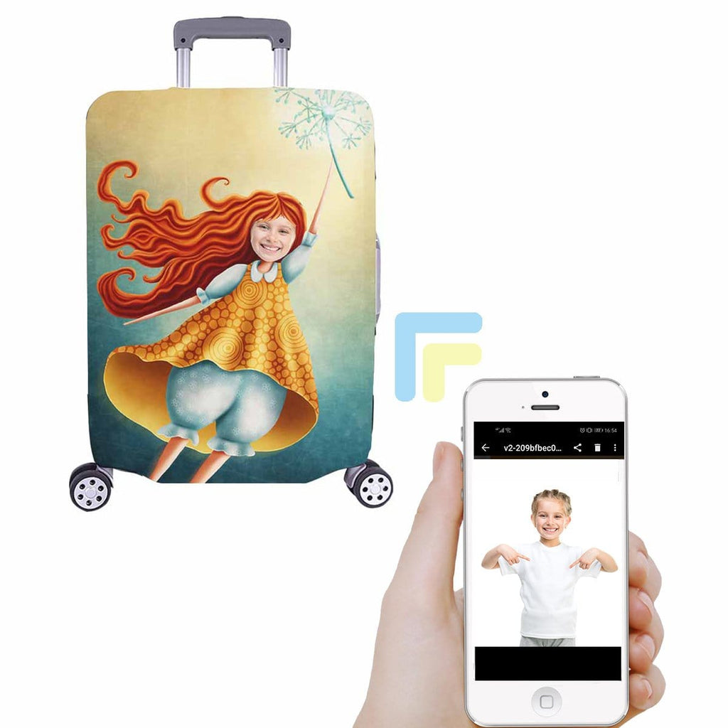 Custom Girl Face Dandelion Luggage Cover