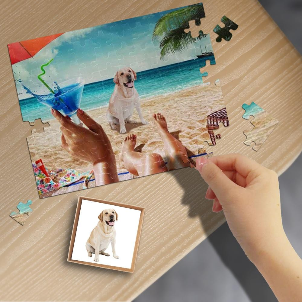 Custom Face Beach Rectangle Jigsaw Puzzle Best Indoor Gifts 110 Pieces