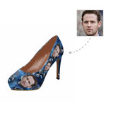 Custom Husband Face Blue Flower Women's High Heels