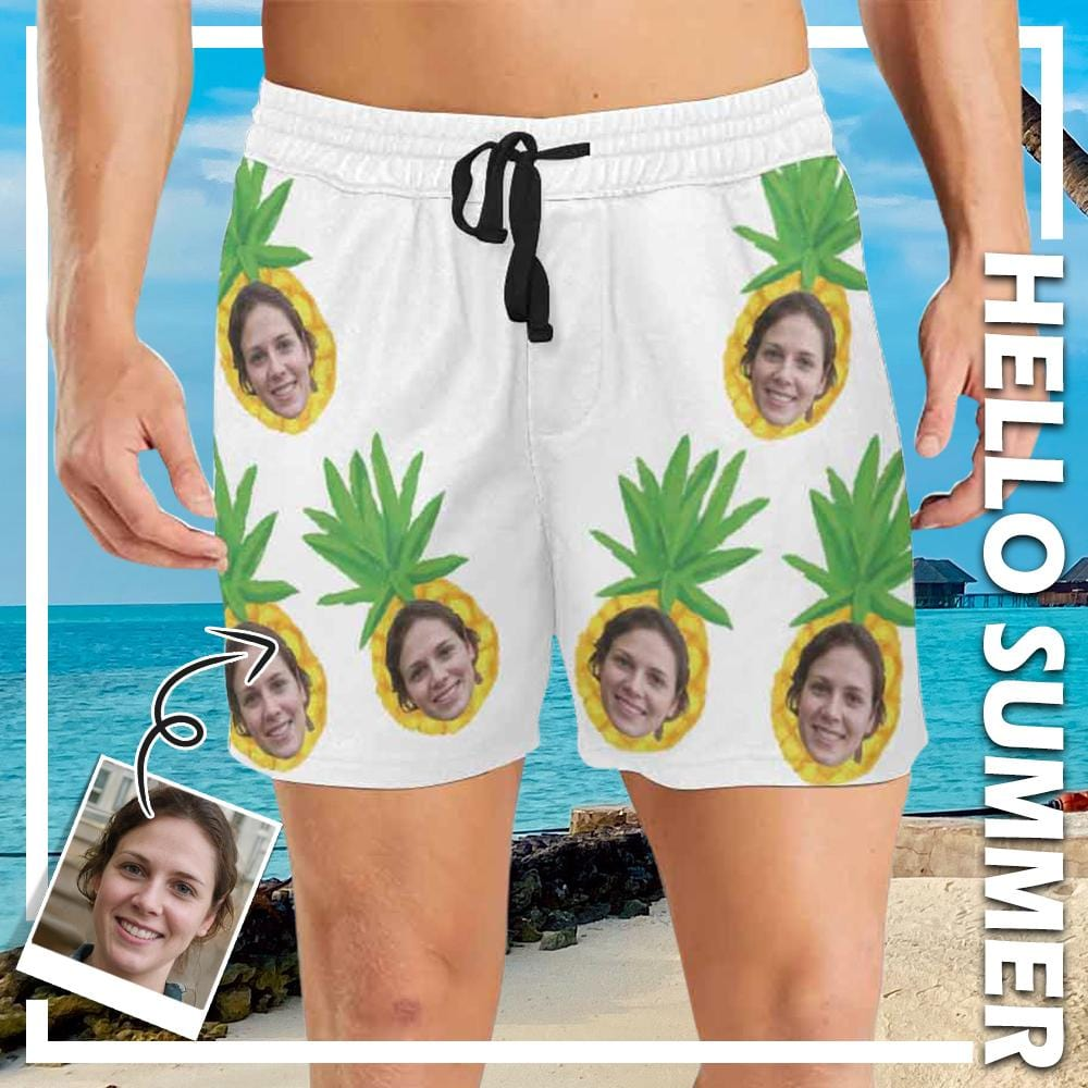 Custom Face In Ananas Men's Mid-Length Swim Shorts