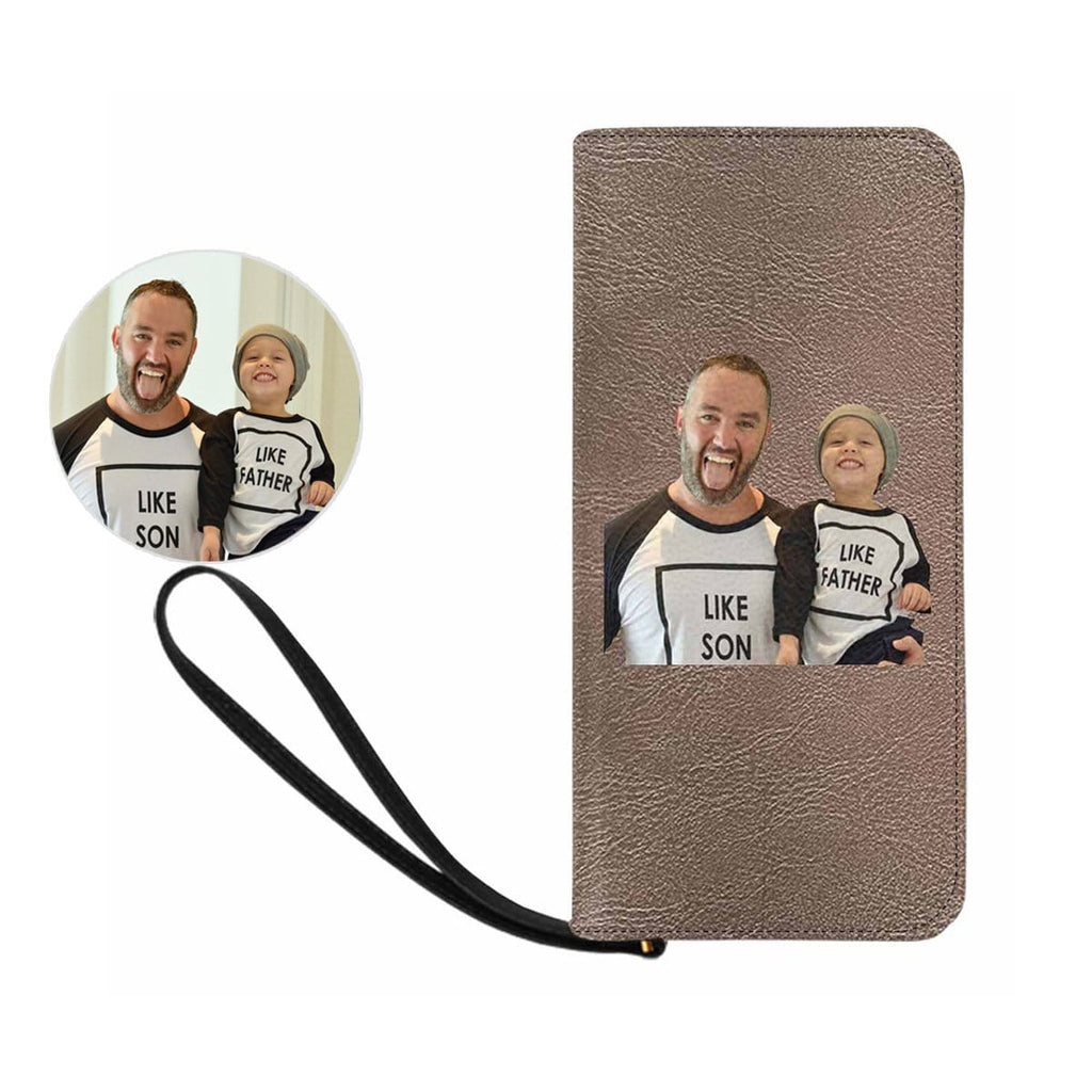 Custom Father and Son Photo Women's Zip Wallet