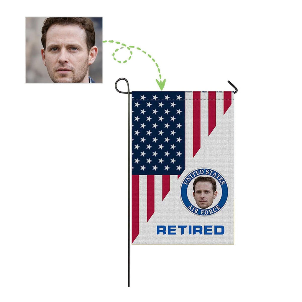Custom Face Retired Air Force Garden Flag