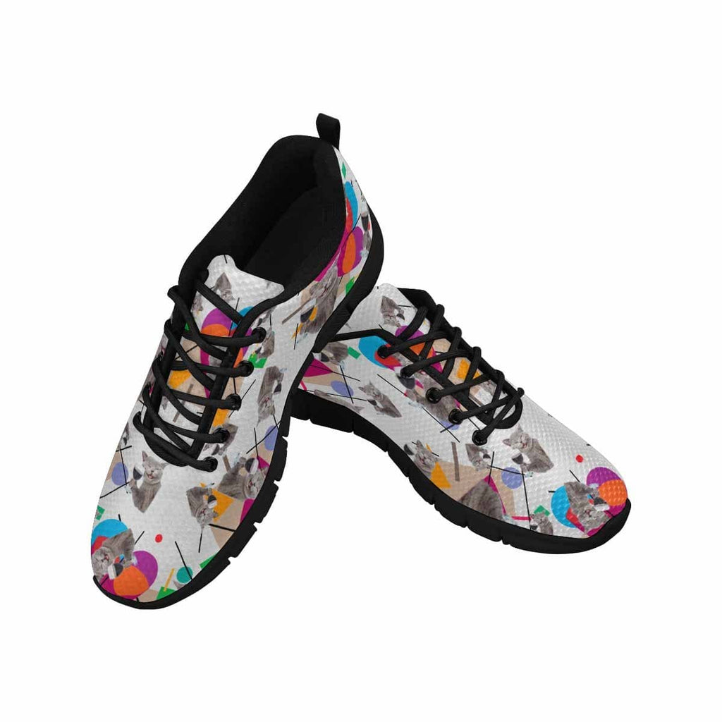 Custom Cat Face Colorful Heart Women's Running Shoes