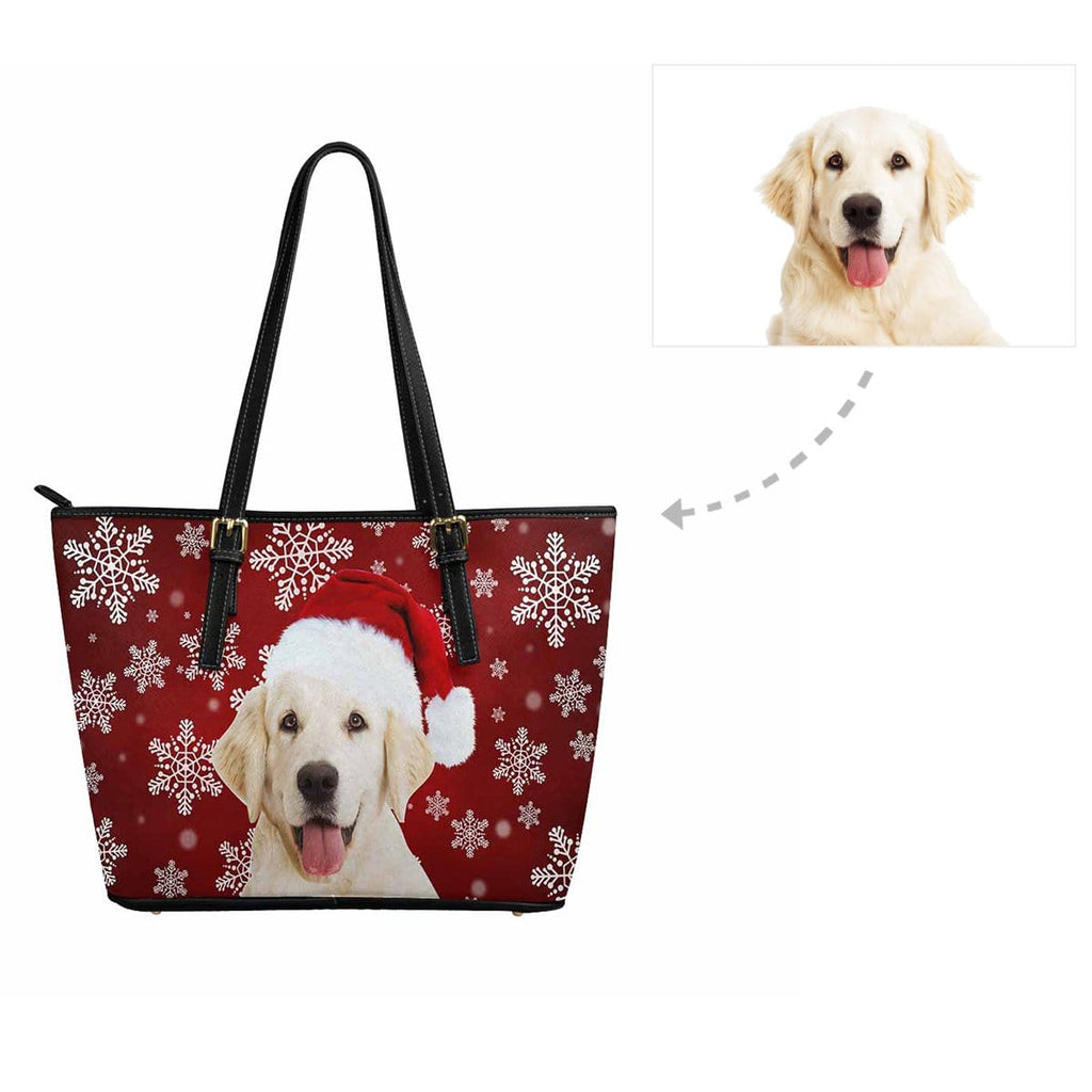 Custom Dog Christmas Snowflake Women's Tote Bag