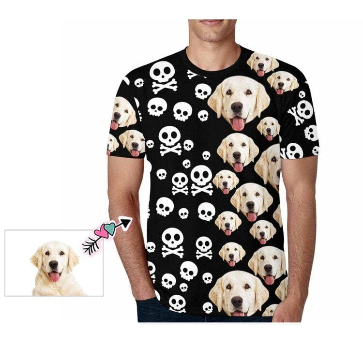 Custom Face Pet Bone Men's All Over Print T-shirt