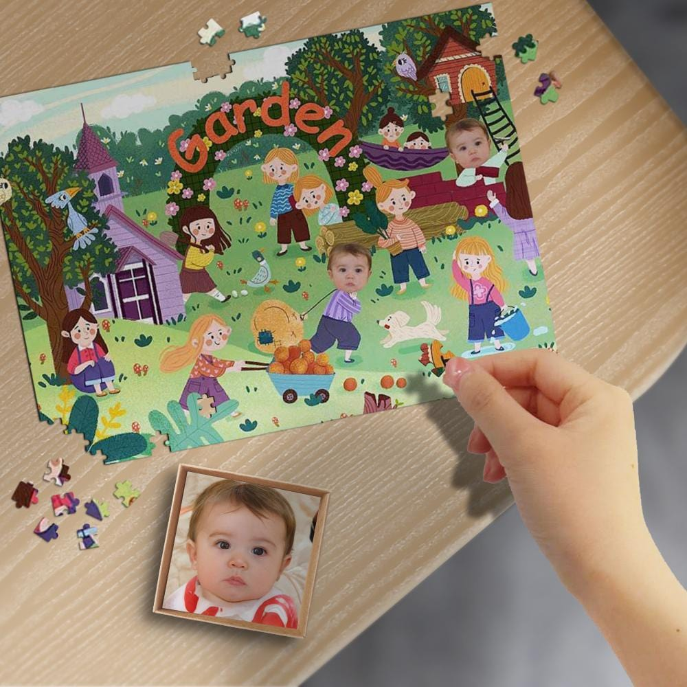 Custom Face Garden Wooden Photo Puzzle 500/1000 Pieces